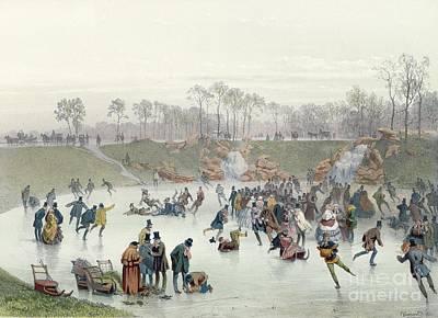 Skating Painting - Skaters On The Lake At Bois De Boulogne by Ice Skaters on the Lake at Bois de Boulogne