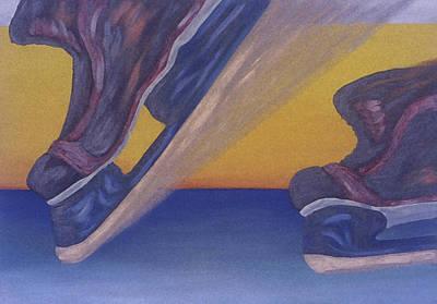 Hockey Painting - Skates by Ken Yackel