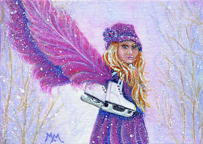 Painting - Skatie - A Little Winter Angel by Monique Morin Matson