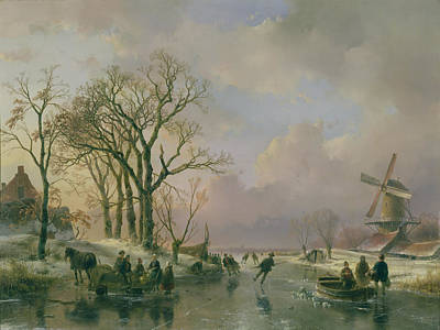 Winter Scene Painting - Skating In Holland by Andreas Schelfhout