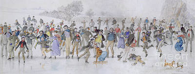 Winter Fun Painting - Skating Scene by Charles Altamont Doyle