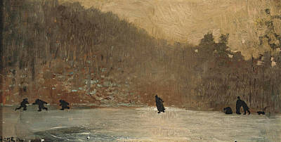 Winslow Homer Painting - Skating Scene by Winslow Homer