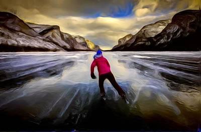 Digital Manipulation Painting - Skating Through The Mountains by Mario Carini
