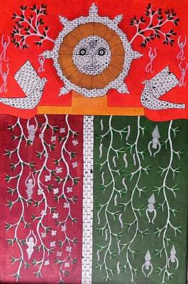 Indian Tribal Gond Art Painting - Skd 190 by Suresh Kumar Dhurve