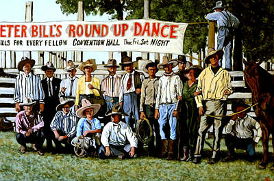 Bucking Bull Painting - Skeeter Bill's Round Up by Tom Roderick