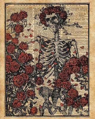 Tapestries - Textiles Mixed Media - Skeleton Art, Skeleton With Roses Book Art,human Anatomy by Jacob Kuch