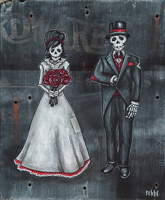 Painting - Skeleton Bride And Groom Aka Amor Sencillo by Nicklos Richards