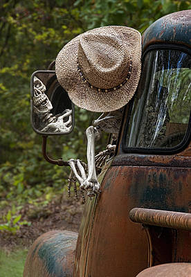 A Hand Mirror Photograph - Skeleton Crew - Skeleton Driving A Vintage Truck by Mitch Spence