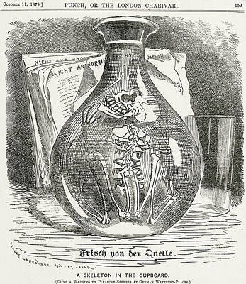Glass Drawing - Skeleton In Bottle Of Water 19th Century Depiction Of Typhoid by English School