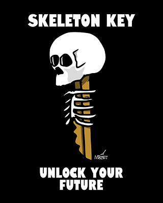 Digital Art - Skeleton Key - Dark by Mike Martinet
