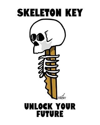 Digital Art - Skeleton Key - Light by Mike Martinet