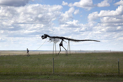 Photograph - Skeleton Man Walking Skeleton Dinosaur, Rural South Dakota by Carol M Highsmith