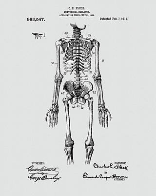 Drawing - Skeleton Patent by Dan Sproul
