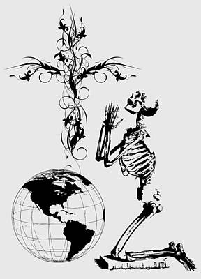 Digital Art - Skeleton Pryaing Cross Globe by Robert G Kernodle