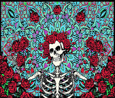 Althea Digital Art - skeleton With Roses by Gd
