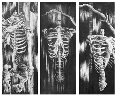Carcass Drawing - Skeletons In Black by Nathan Bishop
