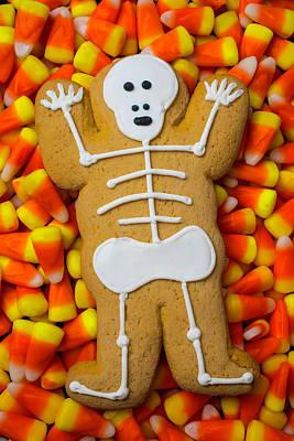 Skelrton Gingerbreadman Cookie Art Print by Garry Gay