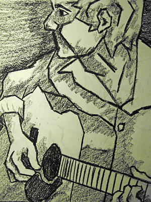 Oil Pastel Drawing - Sketch - Guitar Man by Kamil Swiatek