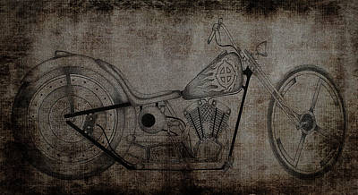 Photograph - Sketch Bike Art Antiqued by Lesa Fine