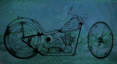 Photograph - Sketch Bike Art Aqua by Lesa Fine