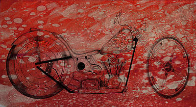 Mixed Media - Sketch Bike Art Red by Lesa Fine