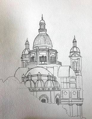 Drawing - Sketch Christ The King Church by Ray Agius
