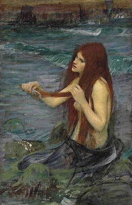 Painting - Sketch For A Mermaid by John William Waterhouse