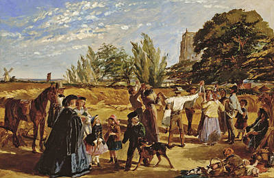 Painting - Sketch For Hullo Largess. A Harvest Scene In Norfolk by William Maw Egley