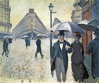 Evening Dress Painting - Sketch For Paris A Rainy Day by Gustave Caillebotte