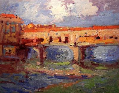 Sketch For Ponte Vecchio In Afternoon Light Art Print by R W Goetting
