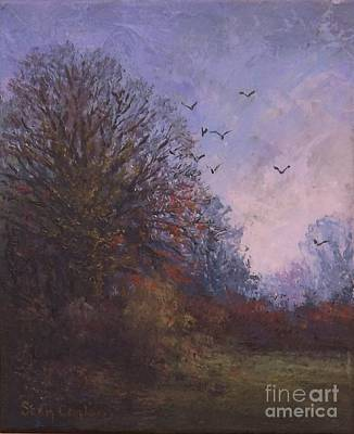 Mystical Landscape Painting - Sketch For Winter Trees by Sean Conlon