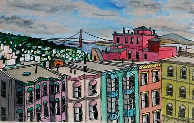 Sanfrancisco Painting - Sketch From Poke Street Roof  by Ronald Thompson