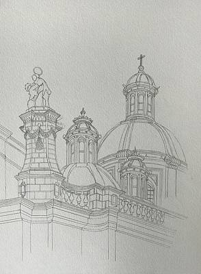 Drawing - Sketch Lady Of Graces Church by Ray Agius