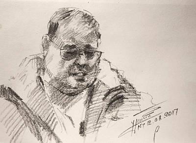 Pencil Portrait Wall Art - Drawing - Sketch Man 14 by Ylli Haruni