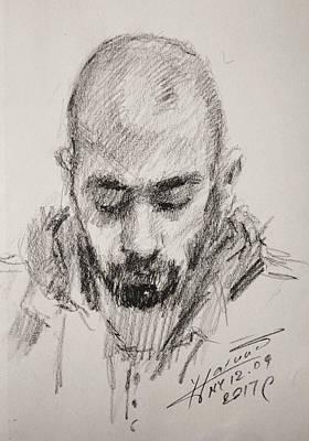 Pencil Portrait Wall Art - Drawing - Sketch Man 16 by Ylli Haruni