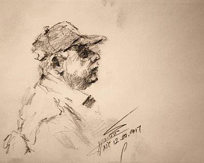 Pencil Portrait Wall Art - Drawing - Sketch Man 19 by Ylli Haruni