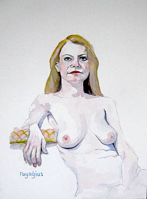 Painting - Sketch Mary Leaning by Ray Agius