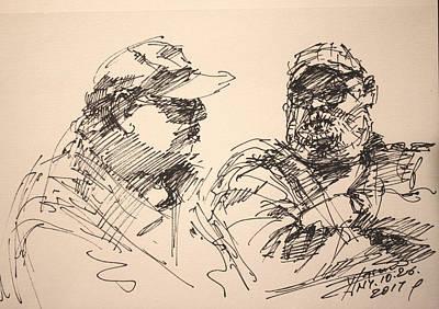 Pencil Drawings Wall Art - Drawing - Sketch Men At Tims by Ylli Haruni