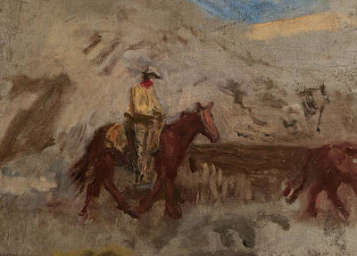 Artist At Work Painting - Sketch Of A Cowboy At Work  by Thomas Eakins
