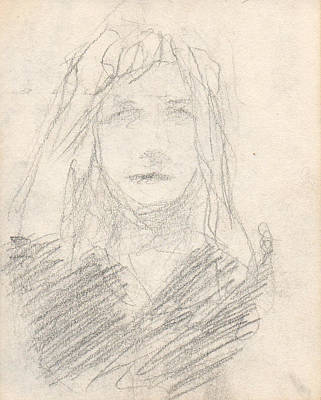 Sketch Of A Girl Art Print by T Ezell