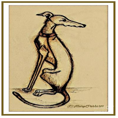 Greyhounds Mixed Media -  Sketch  Of  A   Greyhound  Dog by MaryLee Parker