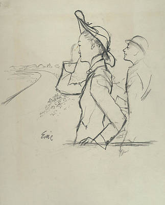 Sketch Of A Woman And Man Wearing Hats Art Print