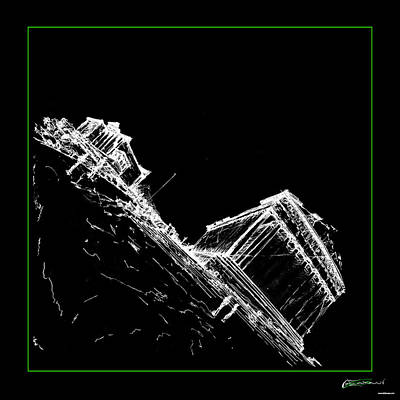 Drawing - Sketch Of Acropolis - Black by AE Samaan