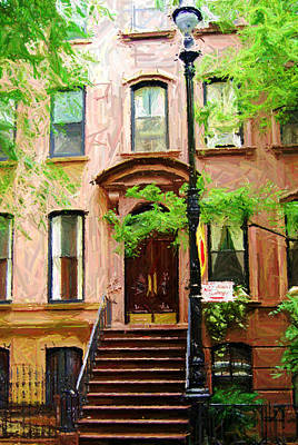 Nyc Digital Art - Sketch Of Carrie Bradshaw Greenwich Village Brownstone by Randy Aveille