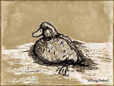 Bookmarks Wall Art - Mixed Media - Sketch Of Duck In Water by MaryLee Parker