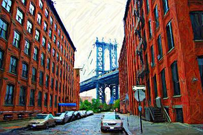 Sketch Of Dumbo Neighborhood In Brooklyn Art Print by Randy Aveille