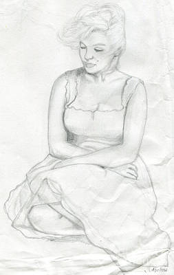 Drawing - Sketch Of Marilyn Monroe by Roz Abellera