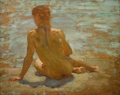 Nudes Painting - Sketch Of Nude Youth Study For Morning Spelendour by Henry Scott Tuke
