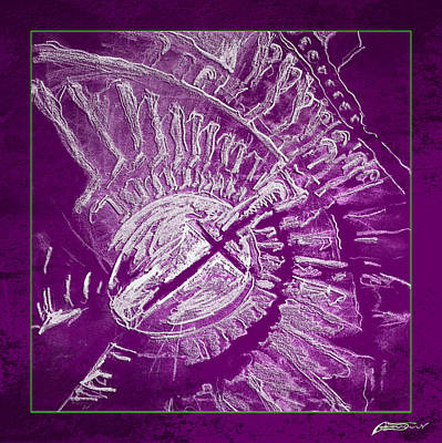 Drawing - Sketch Of Roman Colosseum - Purple by AE Samaan
