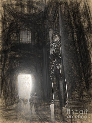 Horizontal Drawing - sketch of St Peter's Basilica interior by HD Connelly